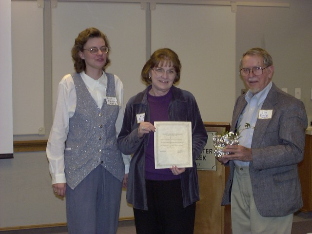 Ann Bolt accepting award on behalf of Dorothy Murray Brault for the Higgins Cemetery Historic Preservation Association, Montgomery County, MD