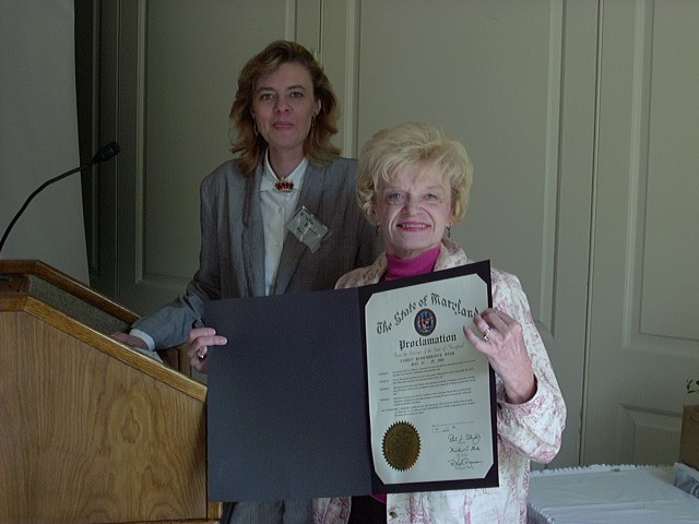 Kristin and Barbara Kraske with Family Remembrance Week Proclamation