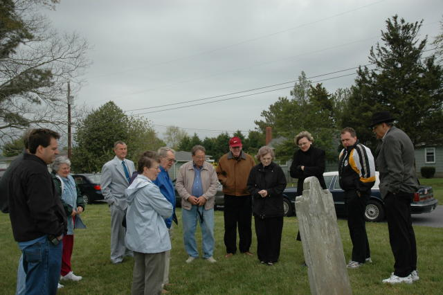 Members at Captain William Carhart's grave
