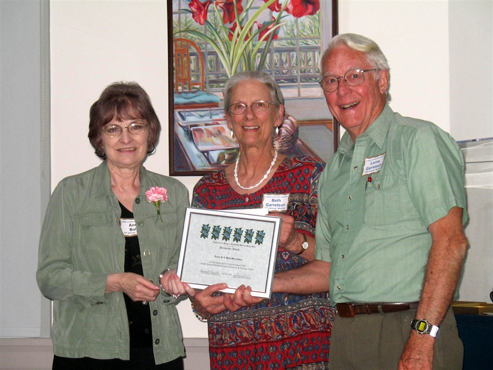 Beth and Lorne Garretson for their work in the Sandy Spring Quaker Cemetery.
